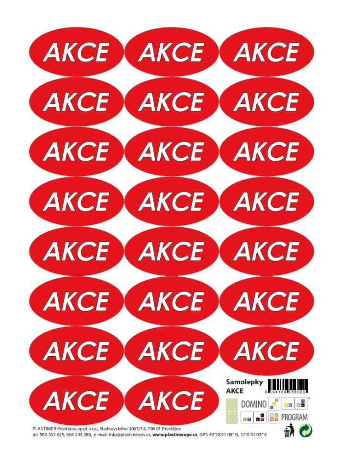 etikety AKCE, 23ks ovál, samolepky