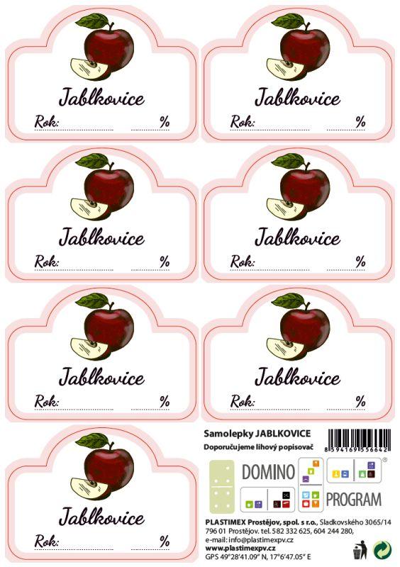 etikety JABLKOVICE 7ks, samolepky