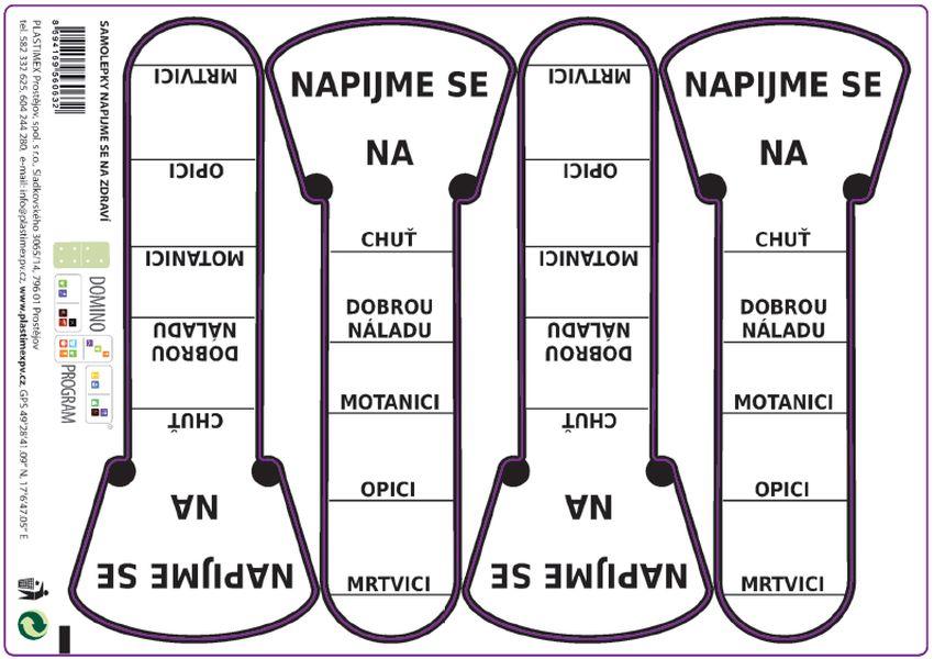 etikety NAPIJME SE 4ks, samolepky