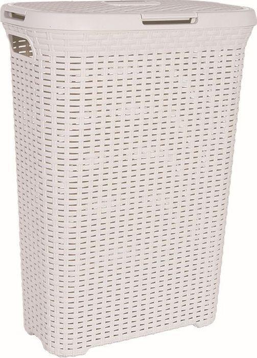 koš 40l na použ.prádlo RATAN krémový(45x27x62cm)