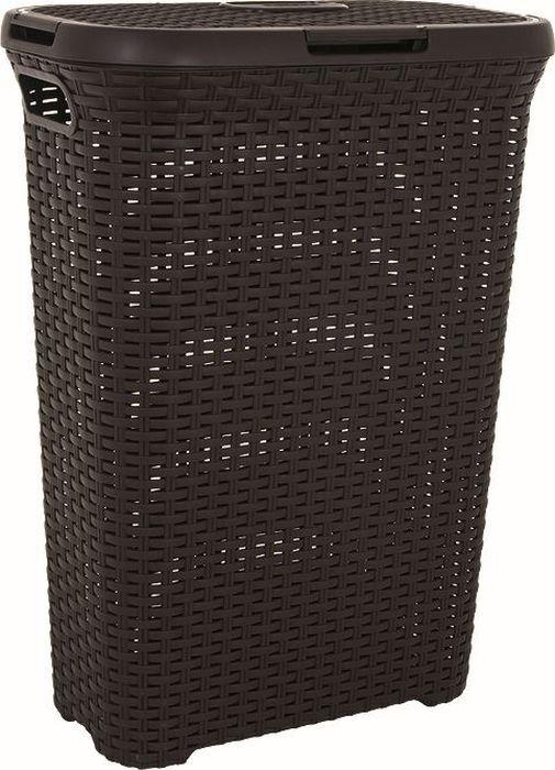 koš 40l na použ.prádlo RATAN hnědý(45x27x62cm)