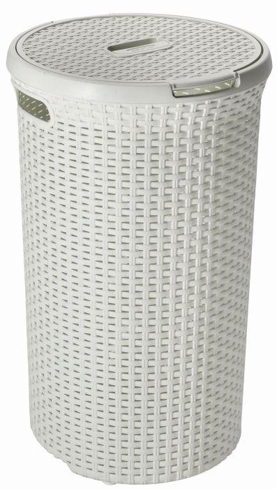 koš 48l na použ.prádlo RATAN krémový(d40x61cm)
