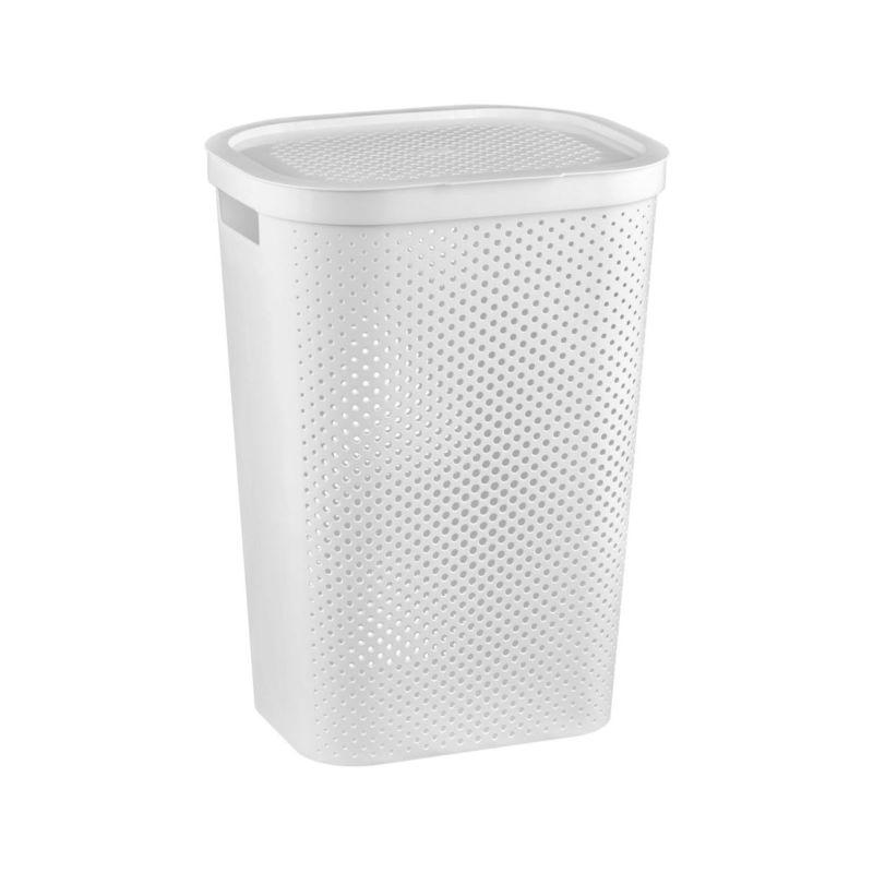 koš 59l na použ.prádlo INFINITY bílý,(44x35x60cm)