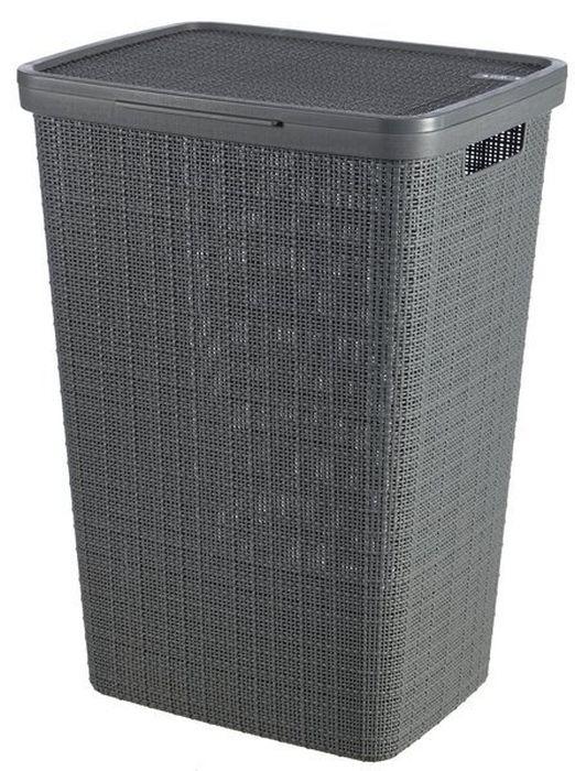 koš 58l na použ.prádlo JUTE tm.šedý, 43x35x60cm