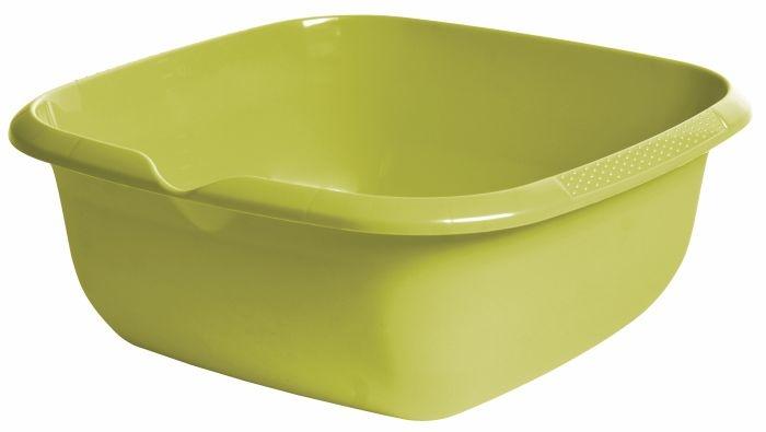 mísa čtv.38x38x15cm s výlevkou,oliva,plast