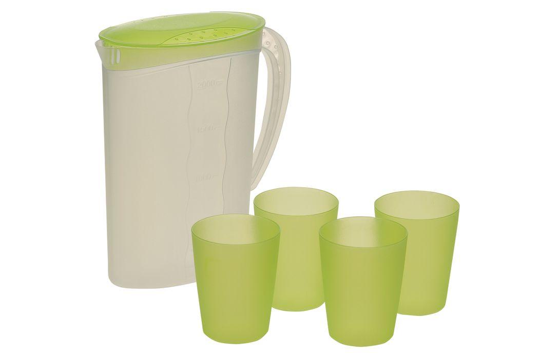 džbán 2,0l + 4kelímky 0,25l, zel.víko, plast