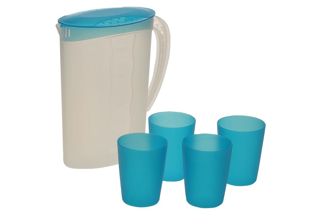 džbán 2,0l + 4kelímky 0,25l, modré víko, plast