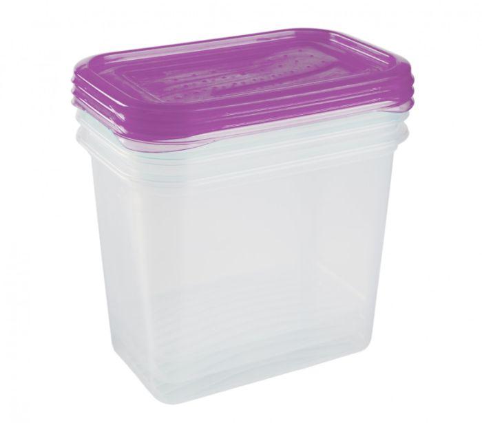 dóza 1,00l, 3ks, 15,5x10,5x11,5cm, švestka/transp.plast