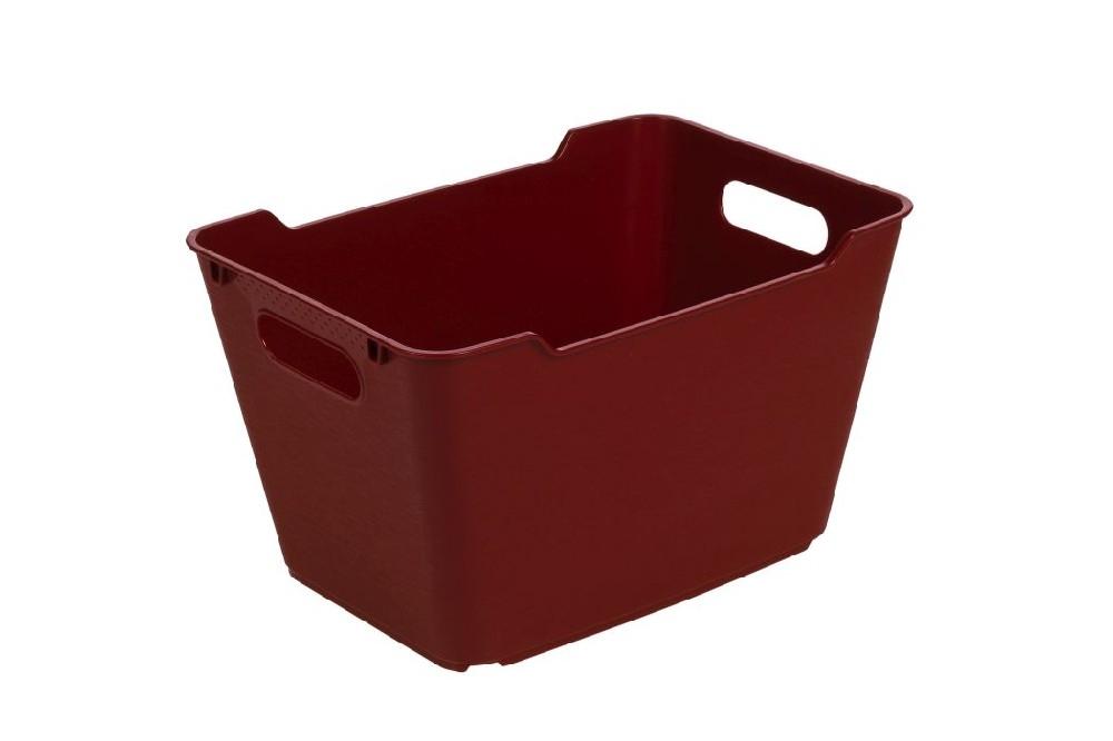 košík 12 l LOFT,plný,bordó,35x23x20cm,plast