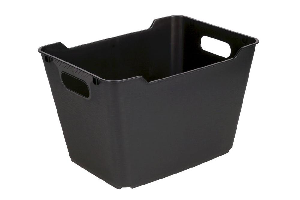 košík 20 l LOFT,plný,grafit,40x28x25cm,plast
