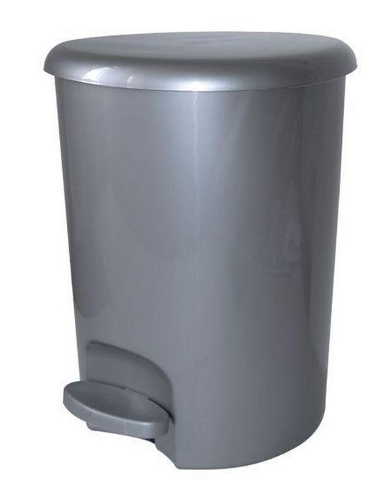 koš odp.16l ALFA, d28x36,5cm, stříbrný, pedál.