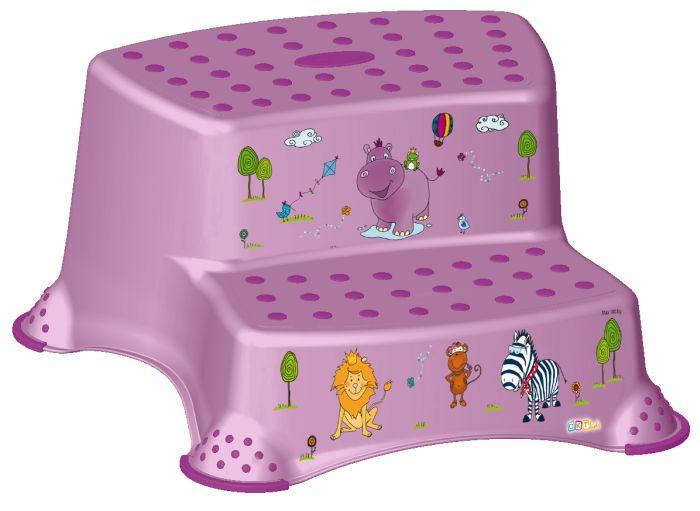 taburetka 40x37,v.21cm,2stupně,IGOR růžový, Hroch,plast