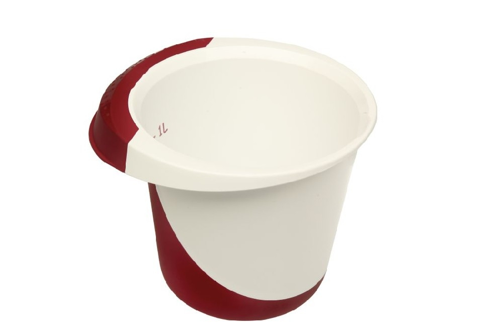mísa 1,5l šlehací DE LUXE,bílá/bordó,plast