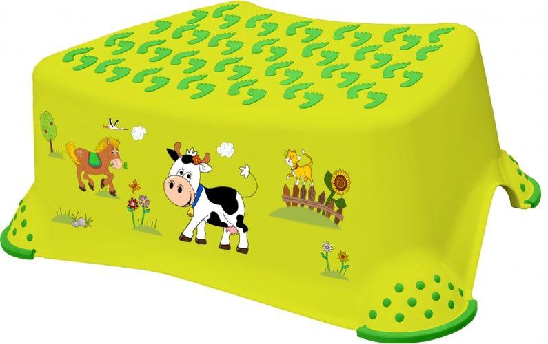 taburetka 40x28,v.14cm,TOMEK-zelený-funny f., plast