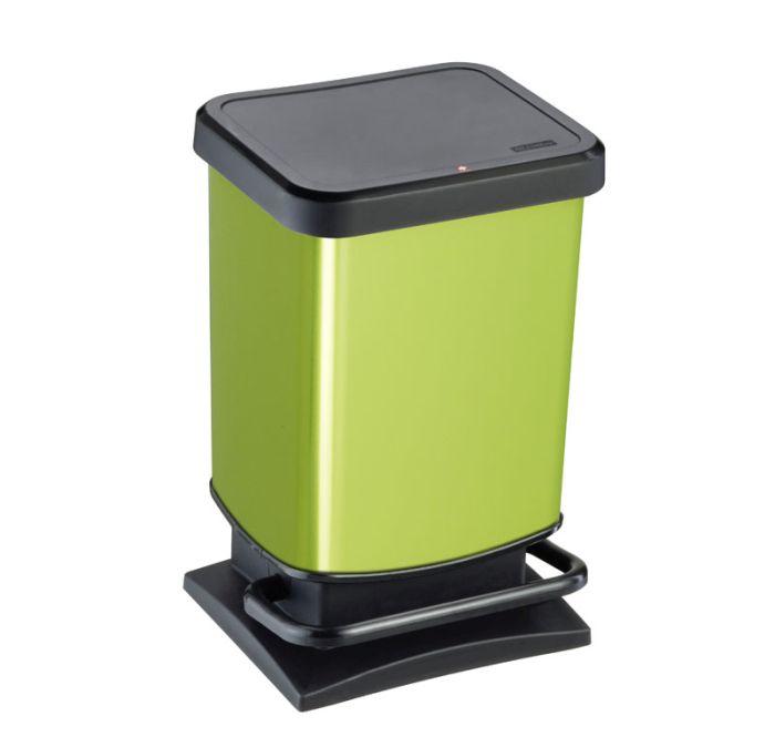 koš odp.20l PASO, zelený metal, pedál.,29x26x46cm