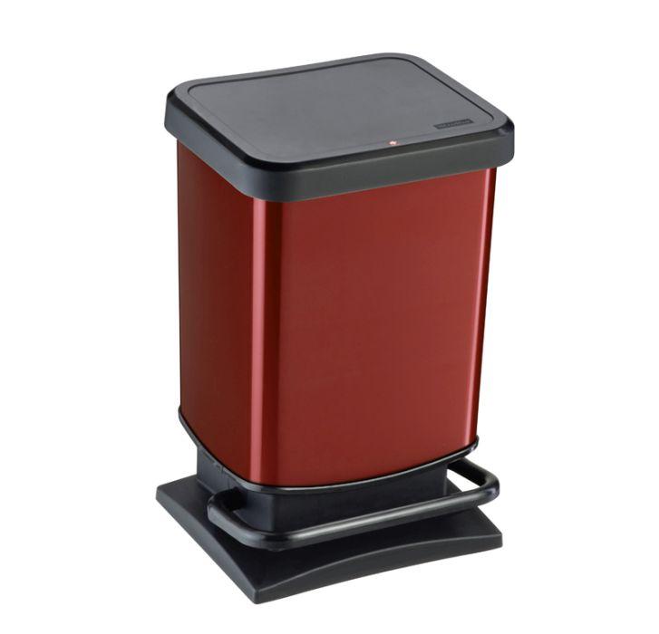 koš odp.20l PASO, červený metal, pedál.29x26x46cm