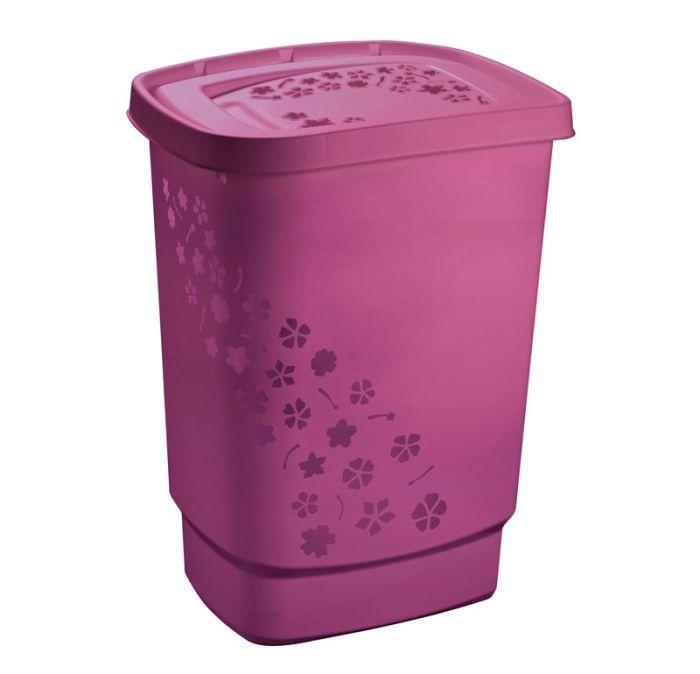 koš 55l na použ.prádlo FLOWERS,purpur.,45x35x60cm