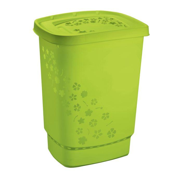 koš 55l na použ.prádlo FLOWERS,zelená,45x35x60cm