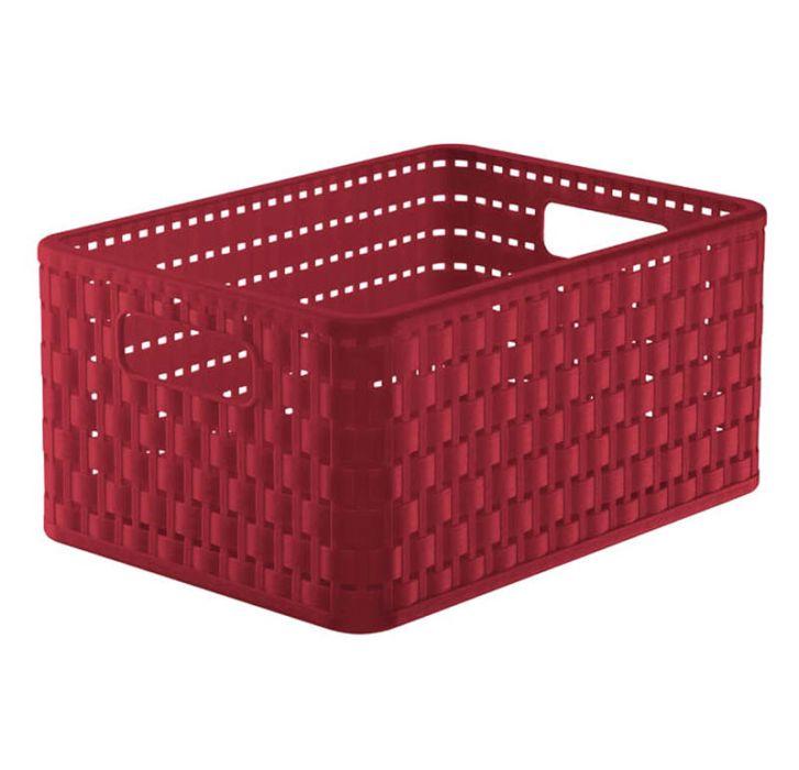 košík A5, 11l, červený ratan 33x24x16cm