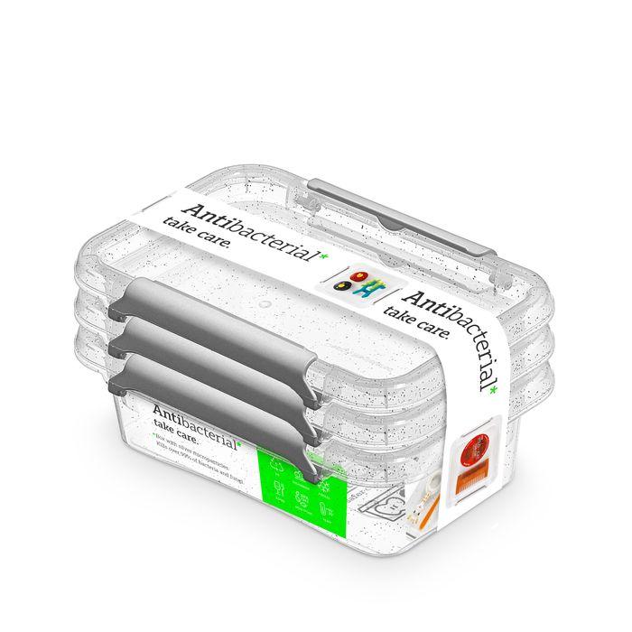 zdravý nanobox 3ks 0,35 l 15x9,5x4,5cm,transp.plast