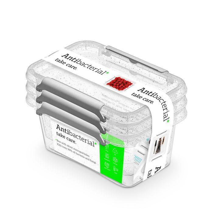 antibakter.box  0,50 l -sada-3ks, 15x9,5x9,5cm, transp.plast