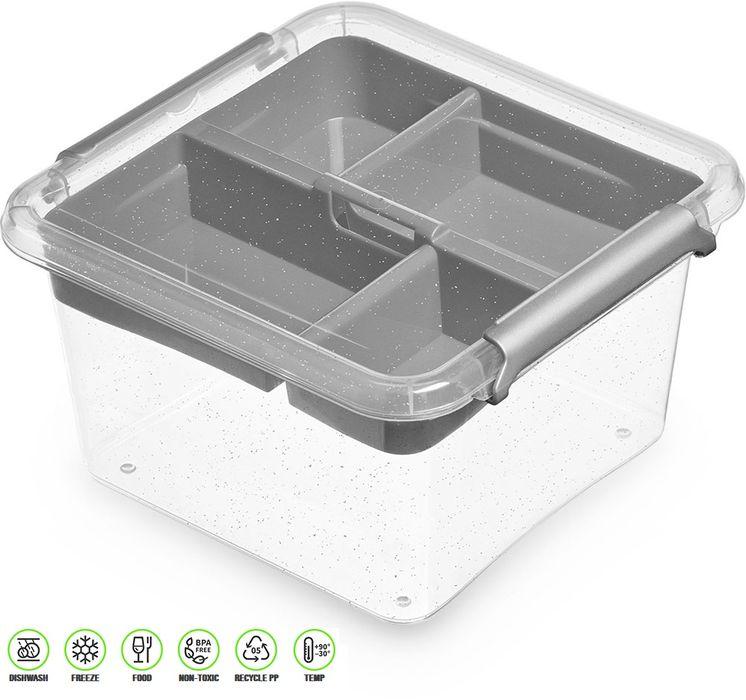 antibakter.box  1,15 l+vložka 15x15x 8,5cm,transp.plast