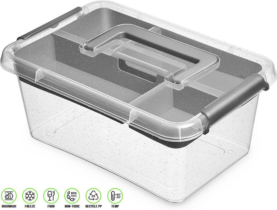 antibakter.box  4,5 l+vložka 29x20x12cm,rukoj.,transp.plast