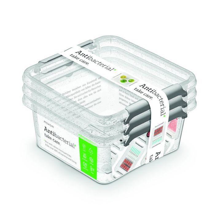 antibakter.box  0,85 l -sada-3ks, 15x15x 9cm,transp.plast