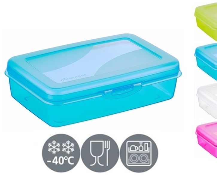 box střed. svačina 19x12,8x5,0cm, klick, mix barev, plast