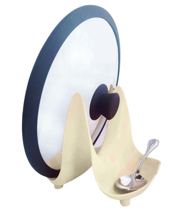 stojan na poklice RIMI béž., 18,3x16,4x15,4cm, plast
