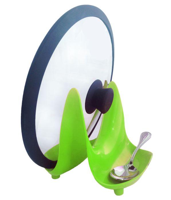 stojan na poklice RIMI zel., 18,3x16,4x15,4cm, plast
