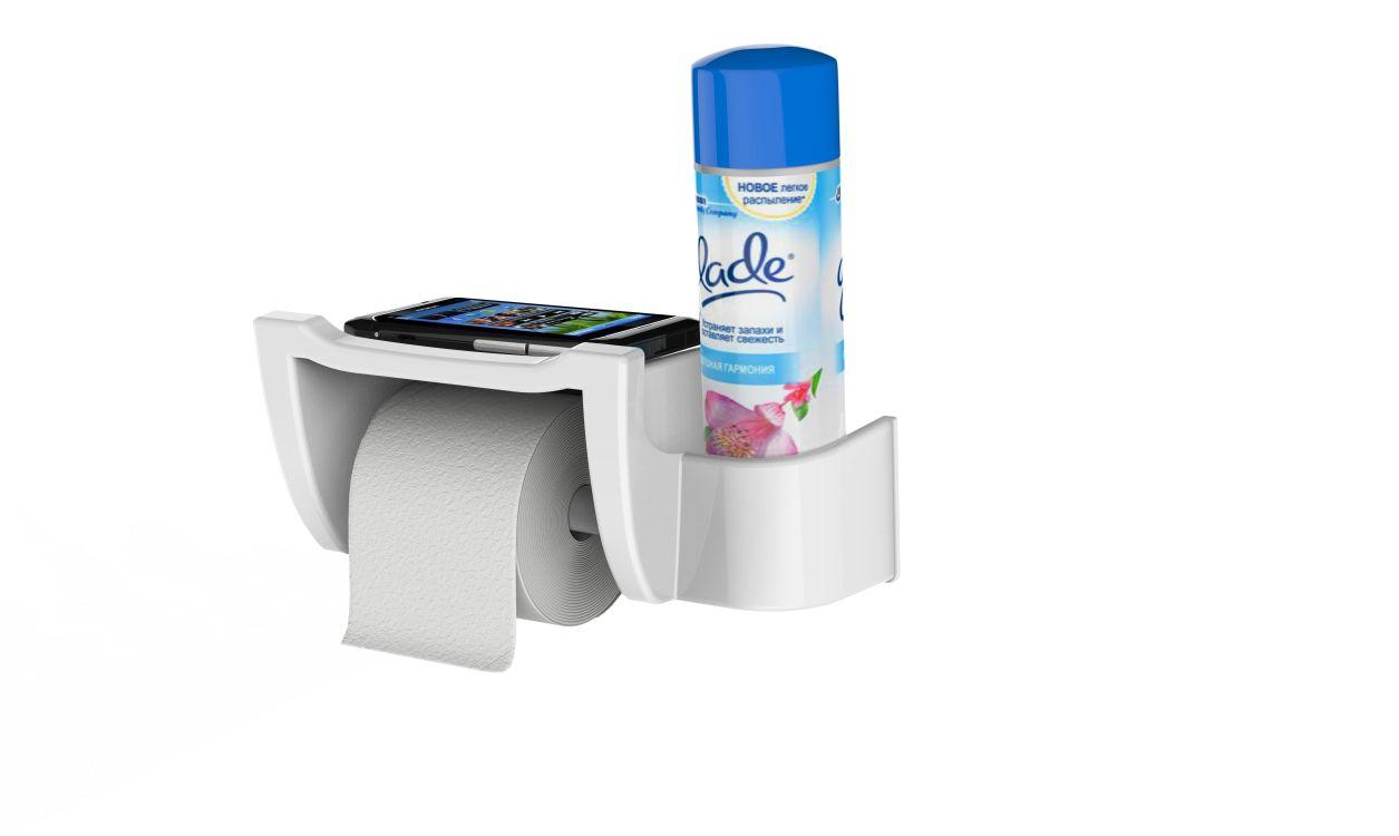 držák WC pap. MIRA bílý, polička mobil