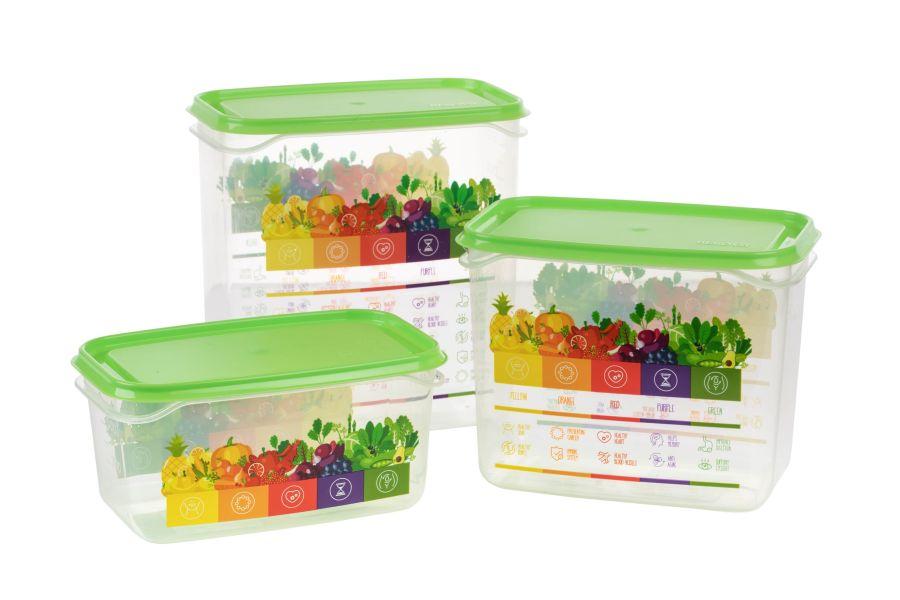 box-sada VITALINE 0,5+1+1,5l zelená, do mraz.plast