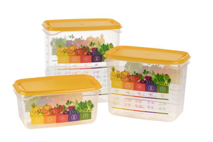 box-sada VITALINE 0,5+1+1,5l žlutá,do mraz., plast