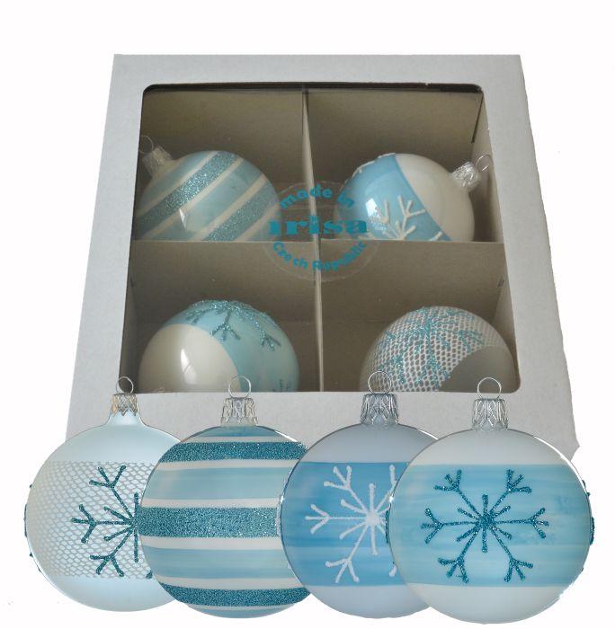 koule d7cm 4ks-modrá 4dekory-ván.sklo+30ks háčků
