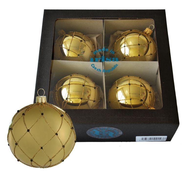 koule d7cm 4ks-mřížky,tečky zlato-ván.sklo+30ks háčků