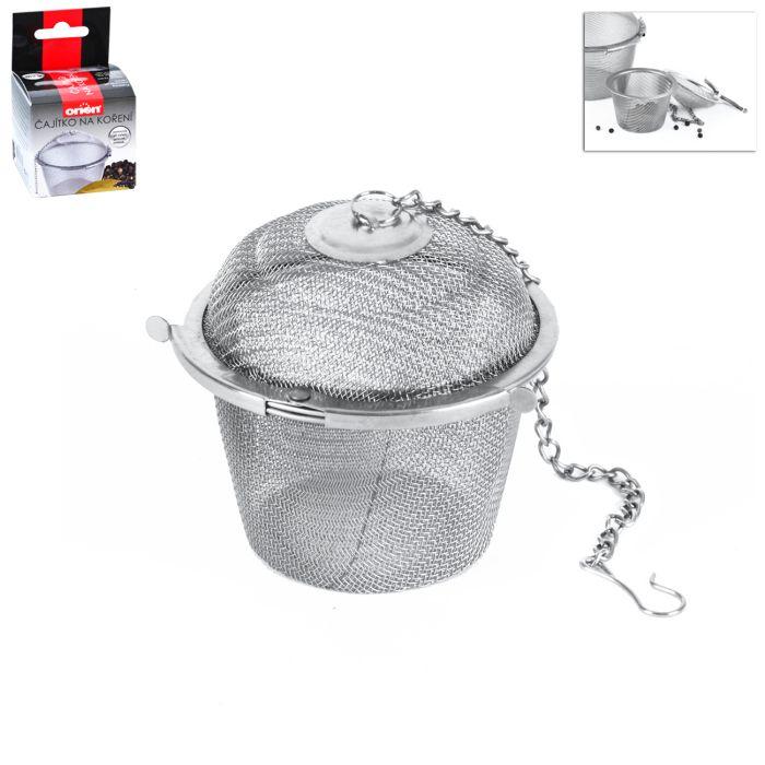 čajítko d 6,5cm na koření/čaj-závěsné, klip, kov