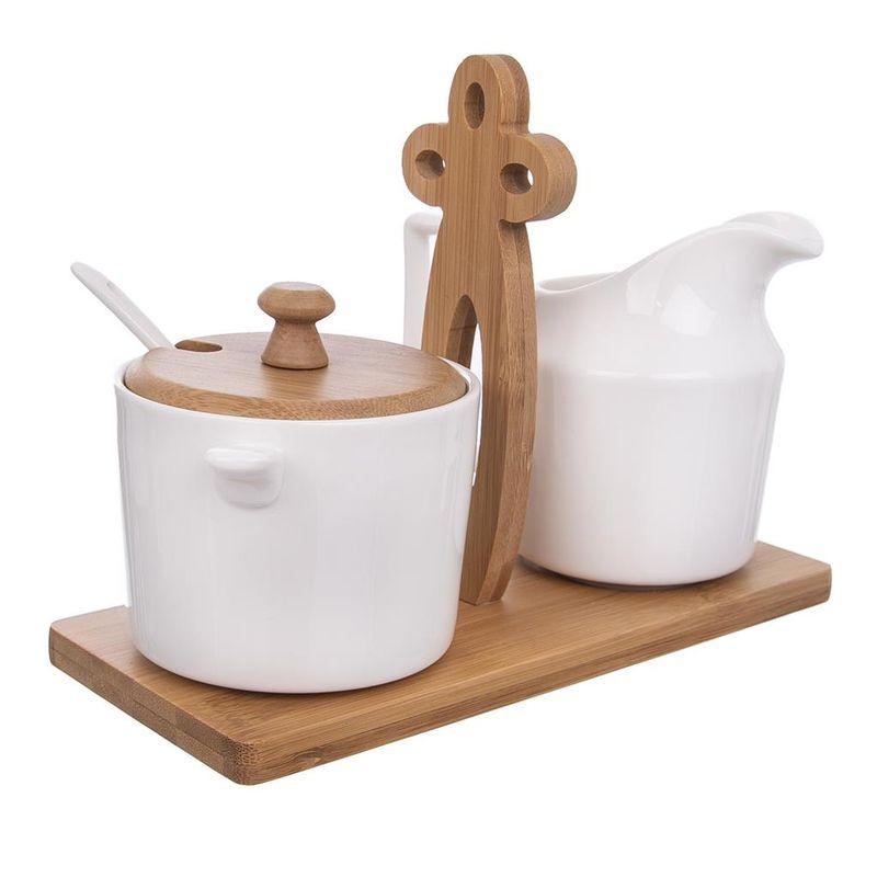 mlékovka+cukřenka, dóza, porcel./bambus