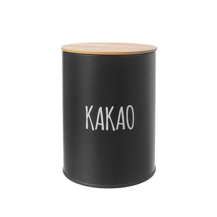 dóza plech. d11x15,5cm, KAKAO, BLACK, plech/bambus