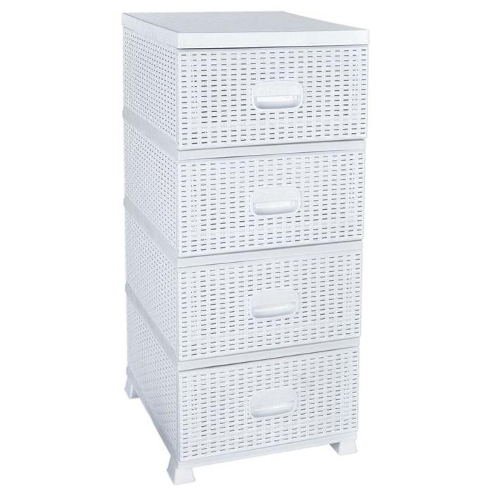 skříňka 4zásuvky 90x37,5x45,5cm,bílá,RATAN,plast