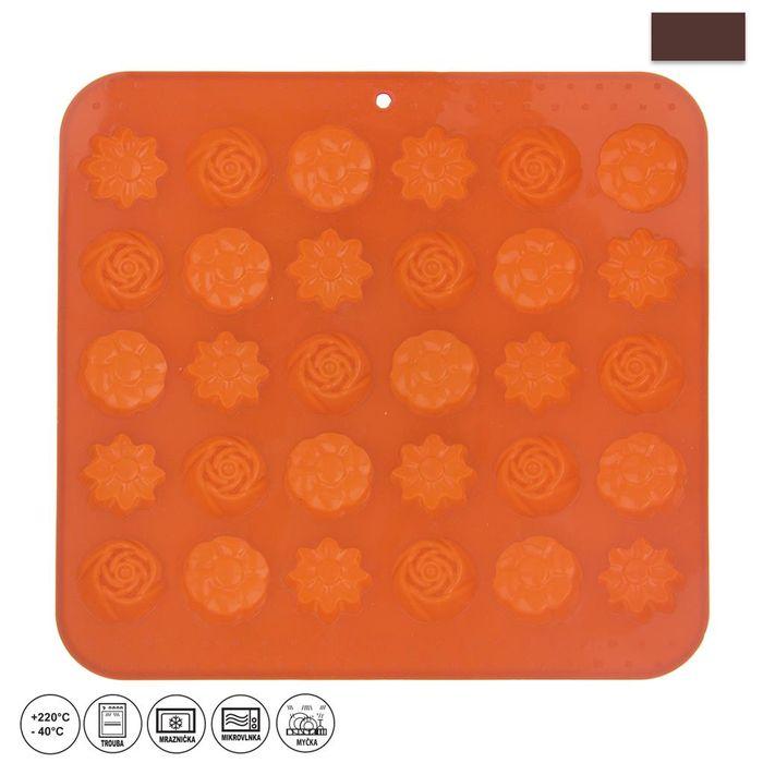 forma kytičky 30-silikon 21x20,5x1,5cm, oranž