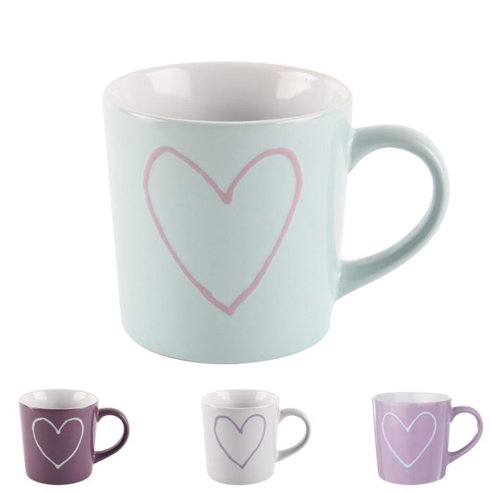 hrnek 600ml SRDCE-Heart, 4 barvy, keramika