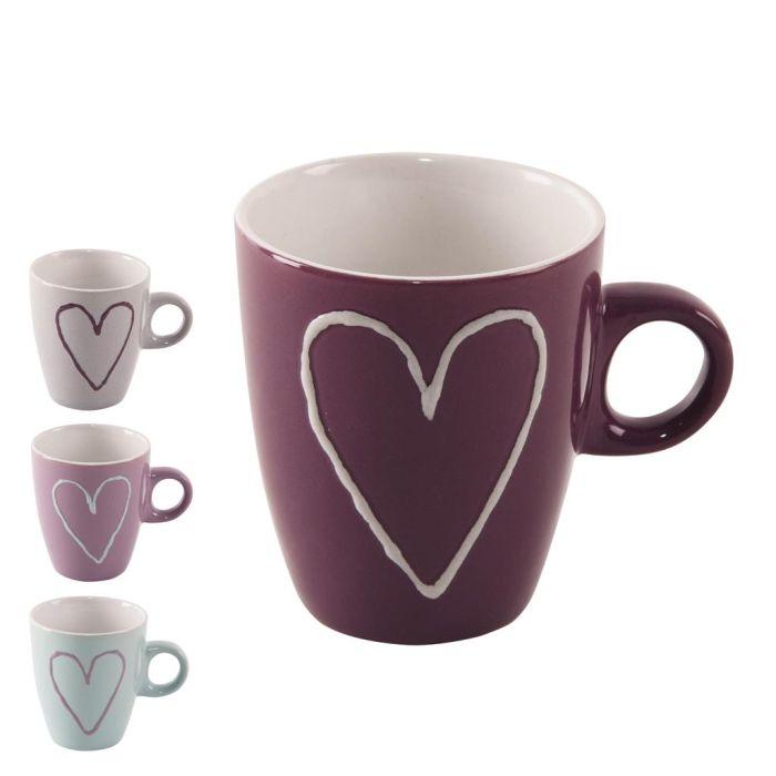 hrnek 230ml SRDCE-Heart, 4 barvy, keramika