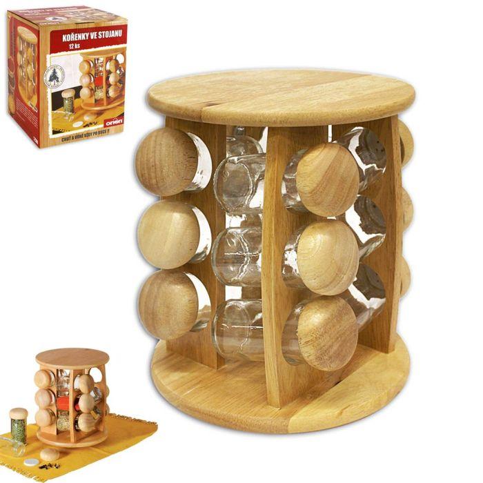 kořenka 12ks sklo/dřevo-karusel.stojánek