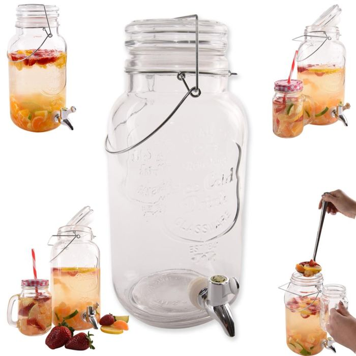 láhev 3,5l sklo s kohoutem