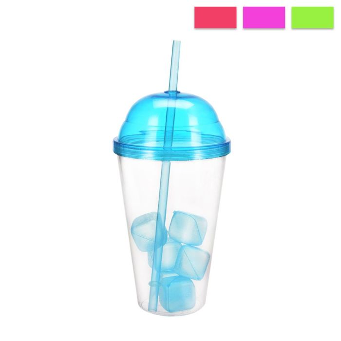 láhev-kelímek 0,55l STRAW, brčko+led.k., plast