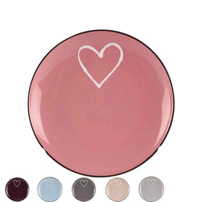talíř d20cm dezert. SRDCE-Heart, 6 barev, keramika