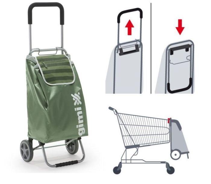 taška 45,0l s kolečky, FLEXI zelená, závěs, kov.rám