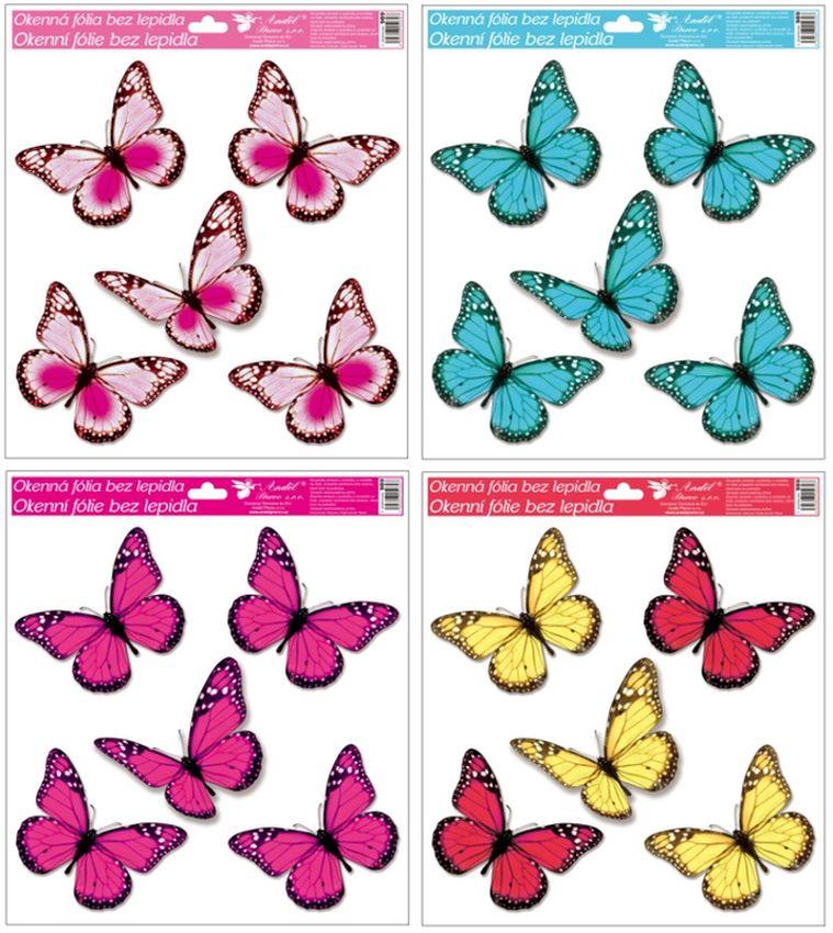 dekorace Motýli s glitry 33x30cm, okenní