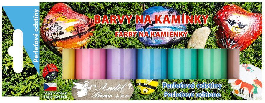 barvy na kamínky AKRYL perlěť 7x15g, lesklé
